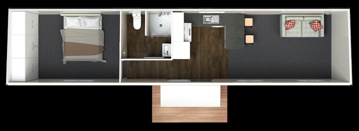 12 5m Deluxe plan Central Bathroom