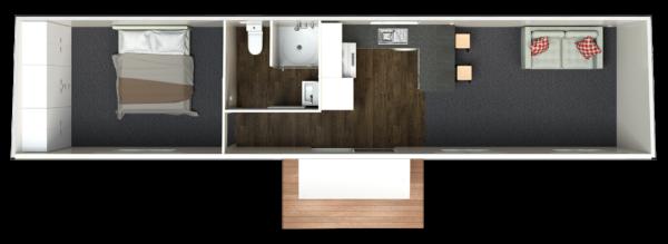 12.5 One Bedroom Deluxe - Centralised Bathroom (Option 2)
