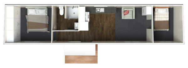 12.5 Two Bedroom Deluxe - Option 2 (centralised bathroom)