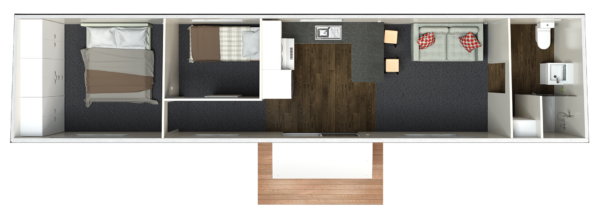 12.5 Two Bedroom Deluxe - Option 1 (end bathroom)